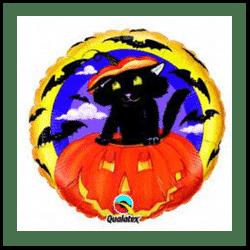 Halloween Cat In A Pumpkin Foil Balloon
