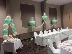 Lovely Summer Wedding Balloons In Mint and Ivory at St Peters Hall By Cardiff Balloons