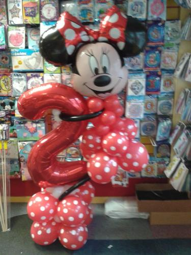 Minnie Mouse Holding A Number 2. Available In Mickey Mouse too and all ages. #birthdayballoons