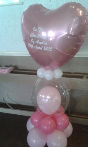 Giant Heart On Heavenly Bubble. Perfect for your christening celebrations