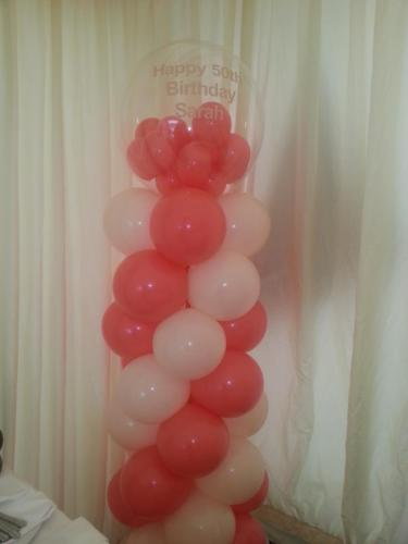 Medium sized Pillar wit gumball topper. Birthday celebrations at Celtic Manor Resort By #cardiffballoons