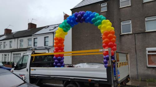 An Arch On A Back Of A Van !!!   Network Rail celebrating Cardiff Pride