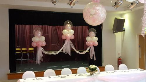 Set Of Floating Clouds In Pink And White At Whitchurch Rugby Club #weddingballoons