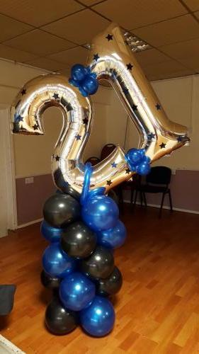 21 On A Pillar. Large Birthday Balloons from Cardiff Balloons