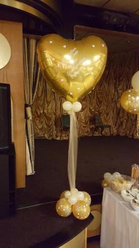 Large Heart With Organza. Personalised with any message. Cardiff Balloons
