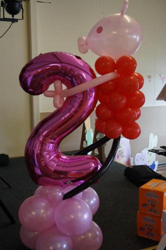 Peppa Pig Holding On To A Number 2. Available In Other Characters and ages from Cardiff Balloons